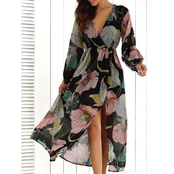 Wrap Print Maxi Dress