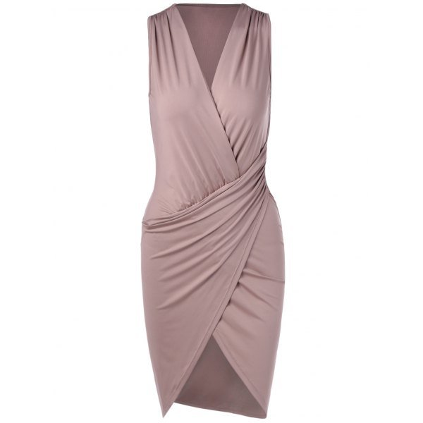 Elegant V-Neck Sleeveless Pleating Fitted Party Dress