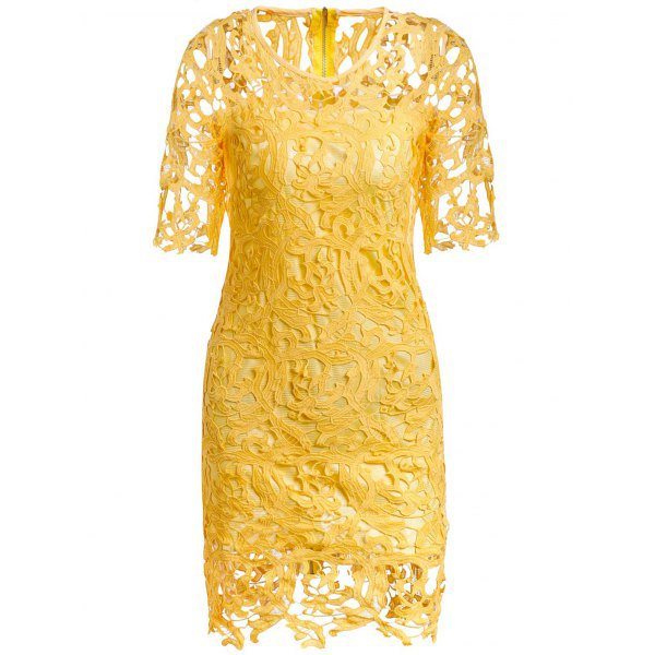Round Neck 1/2 Sleeve Spliced Hollow Out Lace Women's Dress
