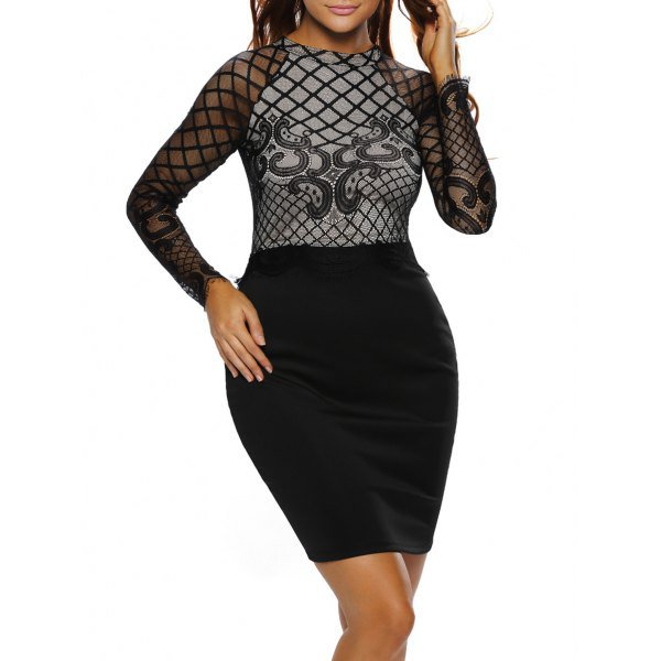 Long Sleeve Lace Panel Dress