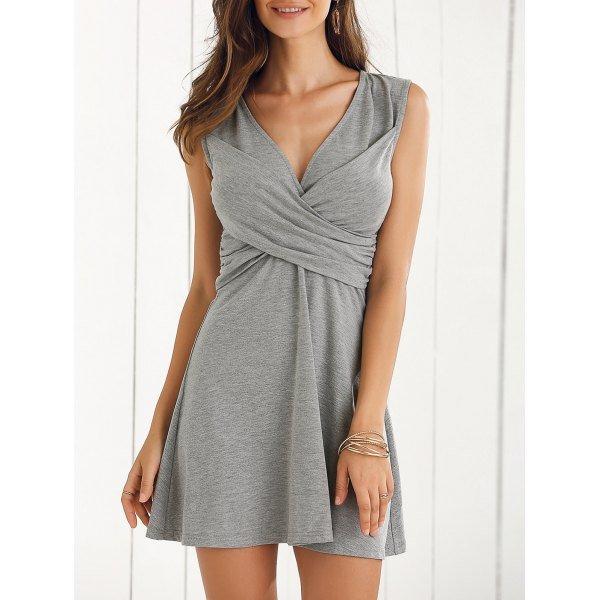 Elegant V-Neck Sleeveless Solid Color A-line Dress