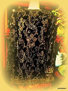 PIERRE CARDIN GOLD METALLIC PATTERN AND BLACK KNIT DRESS SIZE M