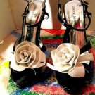 NEWPORT NEWS WOMENS HIGH HEELS BLACK /WHITE ROSES SIZE 7M