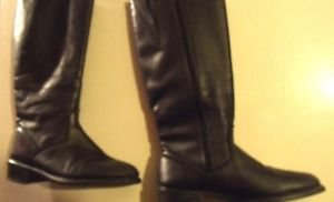 MARTINO BLACK LEATHER KNEEHIGH  BOOTS MADE IN CANADA SIZE 8 B