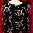 WRAPPER BLOUSE BLACK EMBRODIERED SEQUINED LONG MESH SLEEVED  SIZE X-LARGE