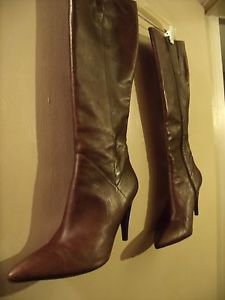 VERO COCIS BROWN LEATHER KNEEHIGH HIGHHEEL BOOTS SIZE 10 B