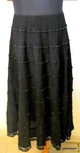 CRESSONG BLACK BEADED ACCENTS LONG WOMENS SKIRT SIZE M.