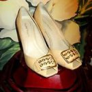 ELLEN TRACY BEIGE OPEN-TOED PUMPS SIZE 10M