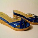 MISS BISOU BLUE PATENT LEATHER AND CORK PLATFORM SLIP-ONS  SIZE 8M