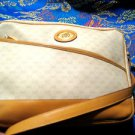 GUCCI  VINTAGE  TAN LEATHER AND BEIGE CANVAS CLOTH LOGO PURSE MEDIUM SIZE.