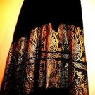 GREEK 100% COTTON WRAPAROUND SKIRT BLACK /GOLD ORNATE EMBRODIERY ONE SIZE FT ALL