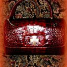 DONALD PLINER RED PATENT CROC PURSE