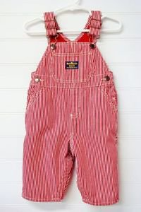 OSHKOSH RED AND WHITE STRIPPED OVERALLS SIZE 6MO