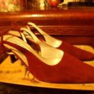 SAKS FIFTH AVENUE RED WINE STRAPBACK HEELS SIZE9.50