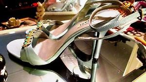 ALFANI TURQUOISE CONCH VAMP SANDALS HIGHHEELS SIZE 8.50 NEW..