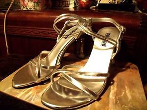 UNLISTED SILVER METTALIC SANDALS CLEAR HIGH HEELS SIZE 7