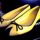 CHANEL FLATS:  Beige Leather Black Patent Leather Flats Size 7  MADE IN ITALY