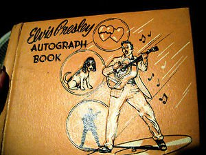 RARE 1956 PINK USED AUTOGRAPH BOOK MADE BY ELVIS PRESLEY ENTERPRISE.