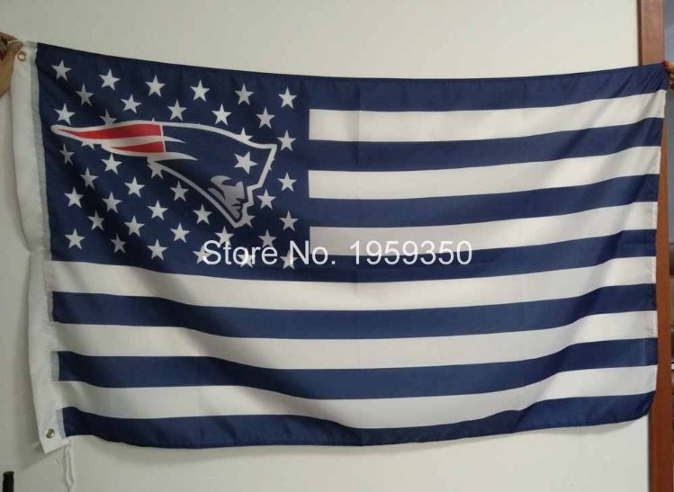 New England Patriots Flag with Star and Stripe 3FTx5FT Banner 100D Polyester Flag metal Grommets