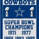 Dallas Cowboys Champions Flag 3ft x 5ft Polyester 90X150cm 2 metal grommets banner