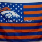 Denver Broncos Flag with Star and Stripe 3x5 FT Banner 100D Polyester Flag Brass Grommets