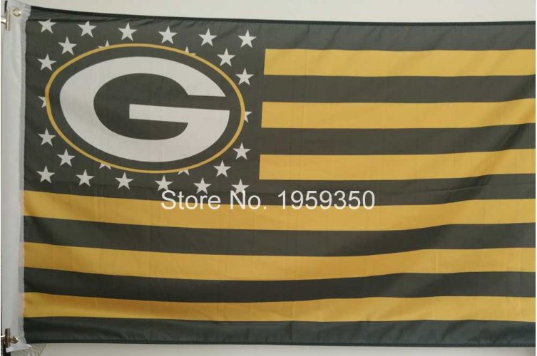 Green Bay packers US Stripe Flag 3x5 FT 150X90CM Banner 100D Polyester flag