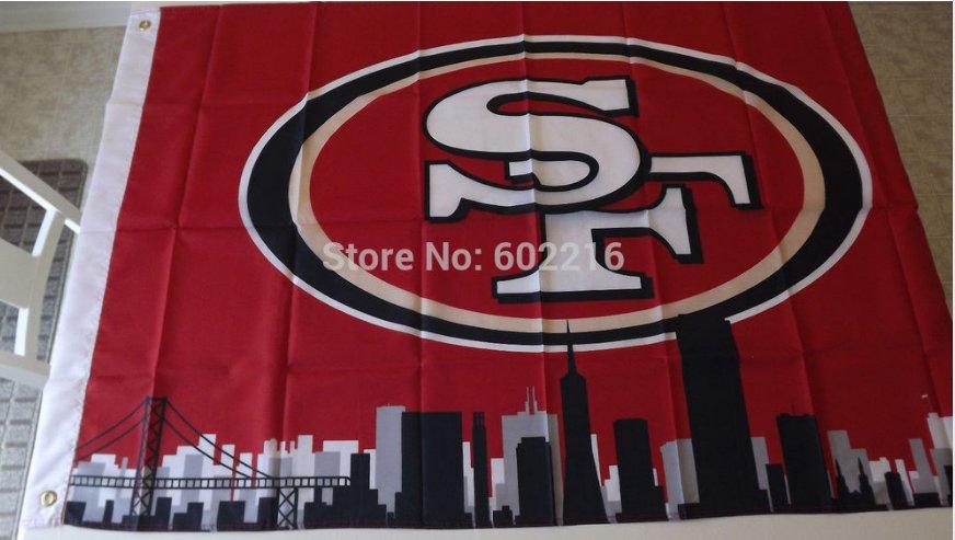 San Francisco 49ers skyline Large Outdoor 3 x 5ft Banner Flag 90x150cm 2 metal grommets