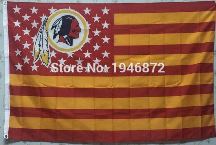 Washington Redskins logo with US stars and stripes Flag 3FTx5FT