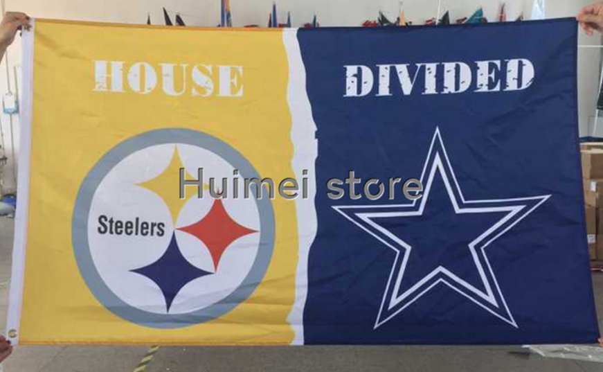 Pittsburgh Steelers vs. DALLAS COWBOYS House Divided Rivalry Flag 90x150cm 100D polyester