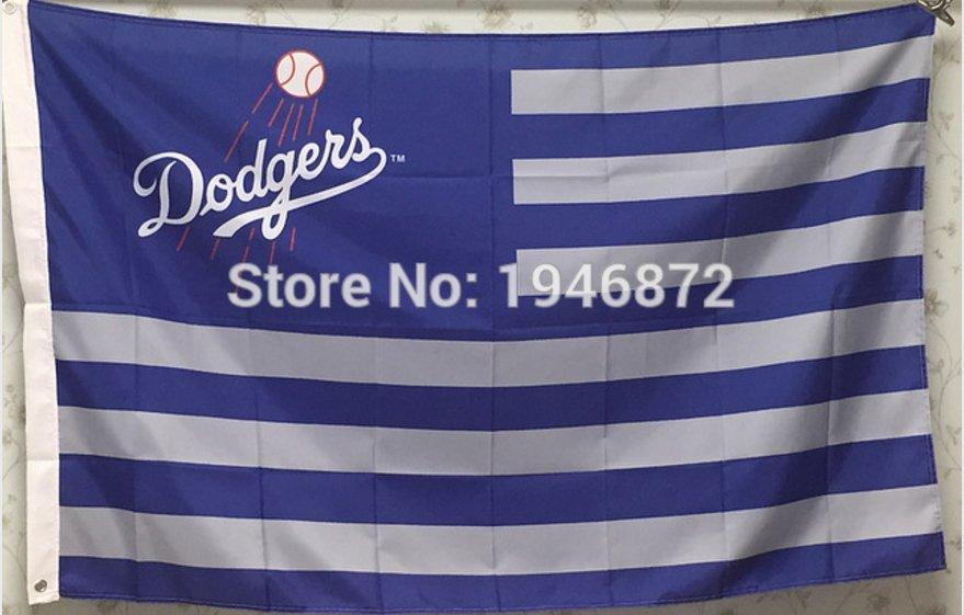 Los Angeles Dodgers logo US star stripe flag 3ftx5ft Banner 100D Polyester MLB Flag
