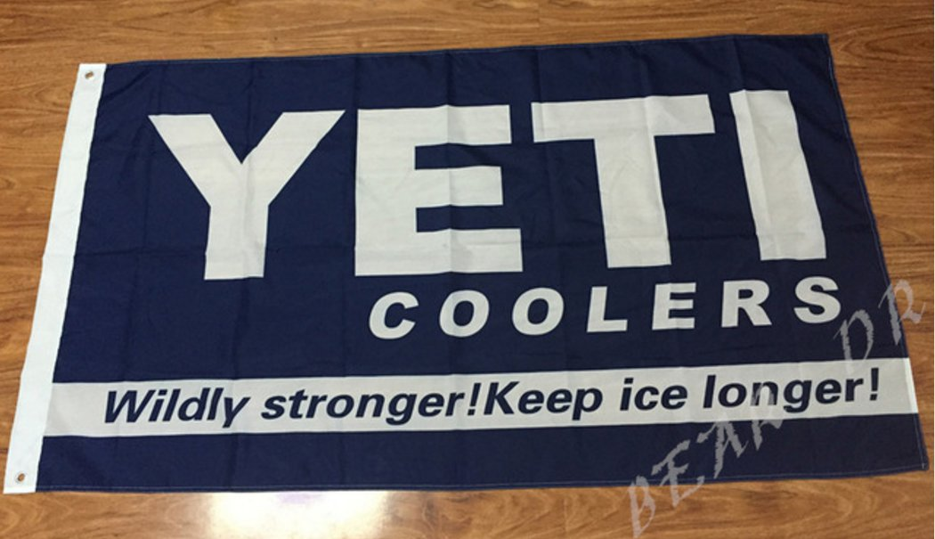 yeti coolers with blue background flag 3ftx5ft 100D Polyester Flag metal Grommets 90x150cm