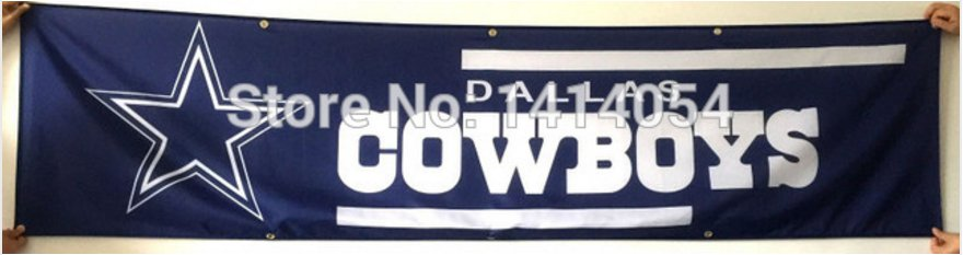 Dallas Cowboys Wide Tailgate Banner Flag 8X2FT Custom Flag 110g knitted polyester