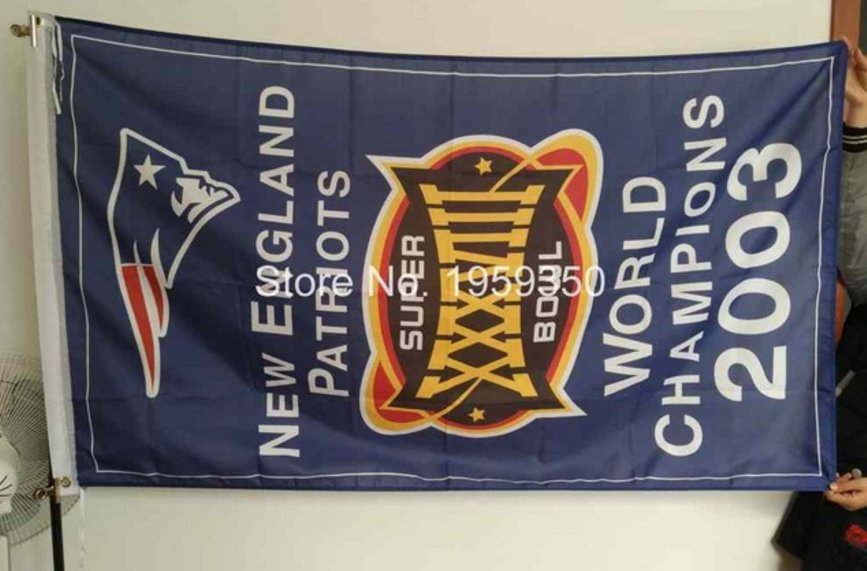 New England Patriots world champions 2003 Flag 3ft x 5ft Polyester banner