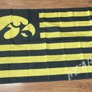 Iowa Hawkeyes logo with US stripes Flag 3FTx5FT Banner 100D Polyester flag 90x150cm NCAA