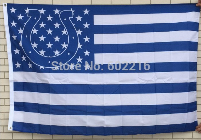 Indianapolis Colts logo with US stars and stripes Flag 3FTx5FT Banner 100D Polyester flag 90x150cm