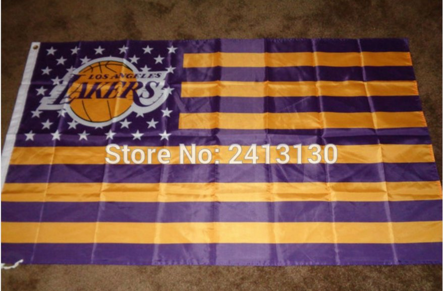 Los Angeles Lakers 3x5 ft Flag Banner NBA100D Polyester metal Grommets