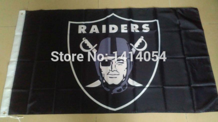 Oakland Raiders Logo Flag 3FTx5FT 100D Polyester 90x150cm