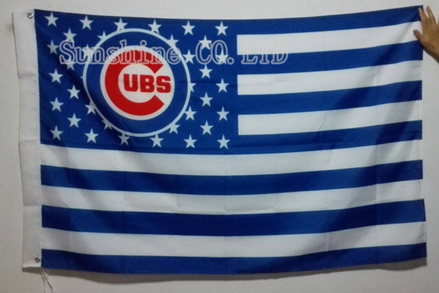 Chicago CUB ubs logo with Stars and Stripes flag white background 3FTx5FT Banner 100D Polyester Flag