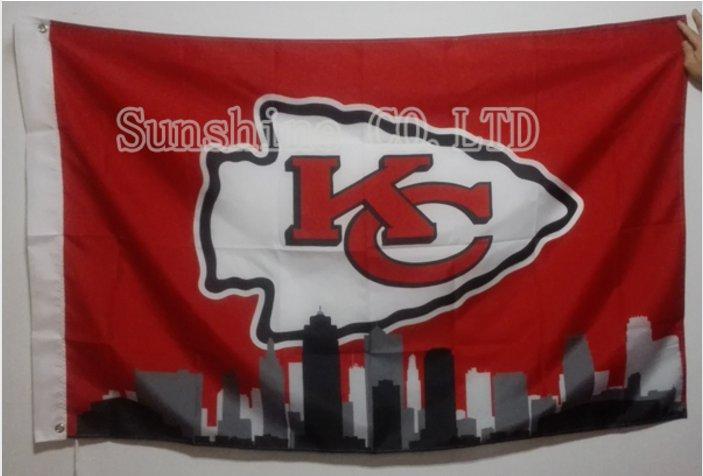 Kansas City Chiefs NFL City Skyline Flag hot sell goods 3X5 FT 150X90CM