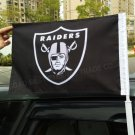 Oakland Raiders logo car flag 12x18 inches double sided 100D Polyester NFL