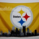 Pittsburgh Steelers skyline Large Outdoor 3 x 5ft Banner Flag 90x150cm 2 metal grommets