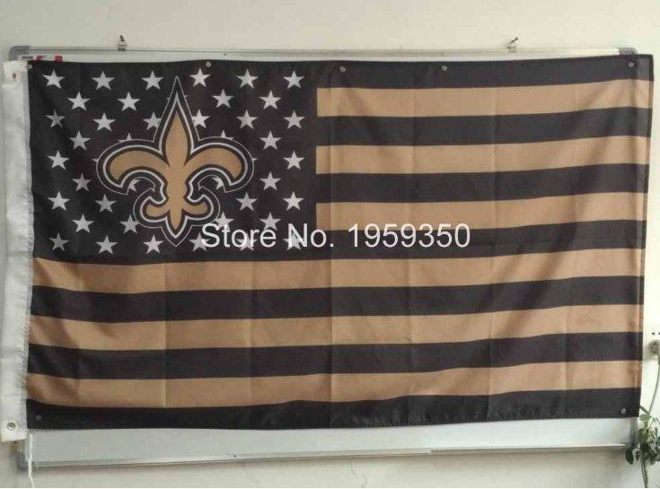 New Orleans Saints US stripe Flag 3FTx5FT Banner 100D Polyester flag 150X90CM