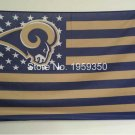 Los Angeles Rams Flag with Star and Stripe 3X5 ft NFL Flag metal Grommets 90x150cm