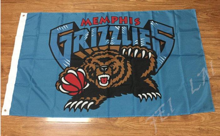Memphis Grizzlies Flag bear and ball 3x5 FT 150X90CM Banner 100D Polyester flag