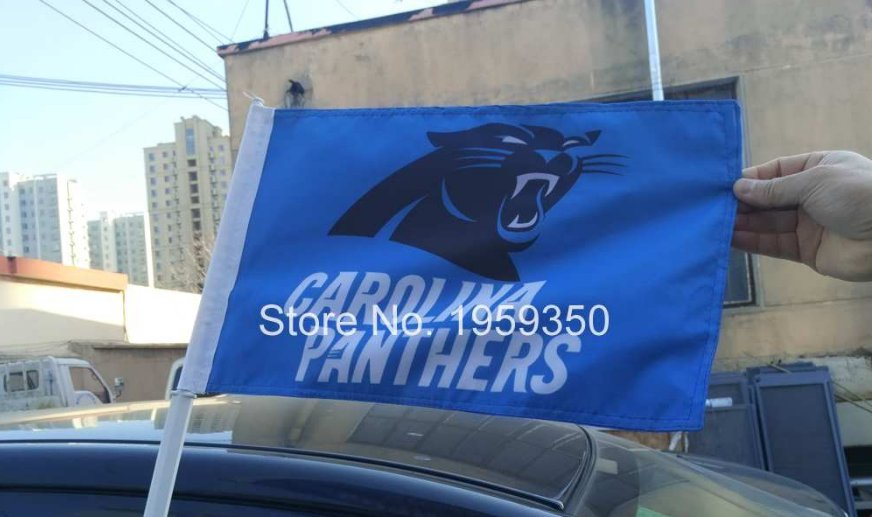 Carolina Panthers logo car flag 12x18inches double sided 100D Polyester 30x45cm with 50cm car flag