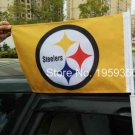 Pittsburgh Steelers car flag 12x18inches double sided 100D Polyester 30x45cm