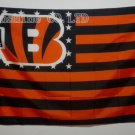 Cincinnati Bengals with US stars and stripes Flag 3FTx5FT Banner 100D Polyester style 1