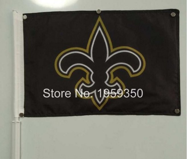 Car flag New Orleans Saints logo 12x18 inches 30x45cm double sided 100D Polyester