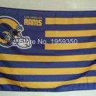 Los Angeles Rams Flag helmet with Stripe 3FTx5FT Banner 100D Polyester Flag 90x150cm