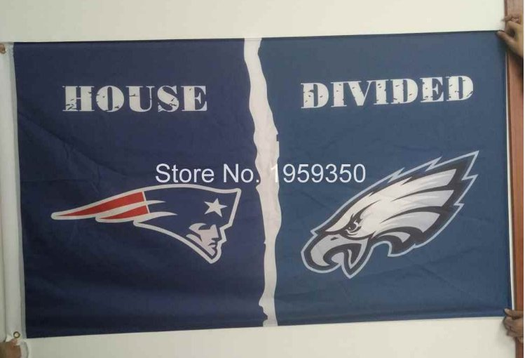 New England Patriots vs. Philadelphia Eagles House Divided Rivalry Flag 90x150cm